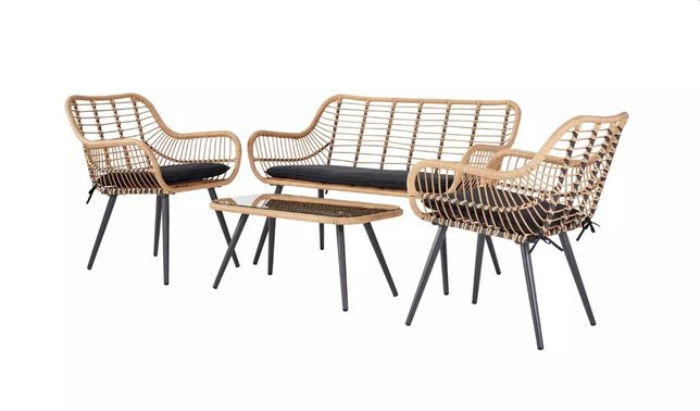 Meble Ogrodowe BAMBOO Sofa + 2 Fotele + Stolik + Poduszki Technorattan