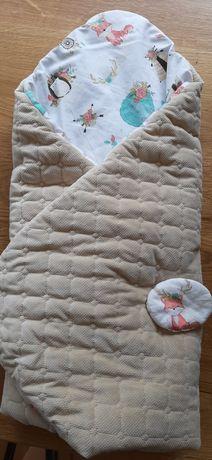 Rożek niemowlęcy dwustronny velvet piaskowy beżowy zwierzątka