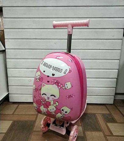 Чемодан самокат детский для девочки розовый на 3х колесах в Запорожье
