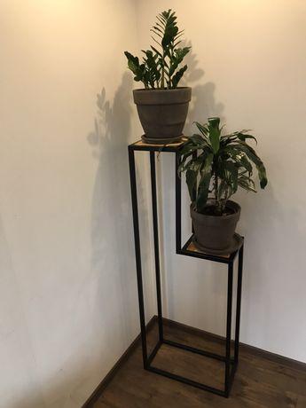 Kwietnik metalowy Loft ,metal drewno