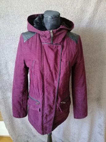 Bordowa kurtka parka jesień zima XS 34