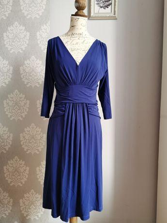 Sukienka włoska PIU PIU kobaltowa chabrowa r. M/L