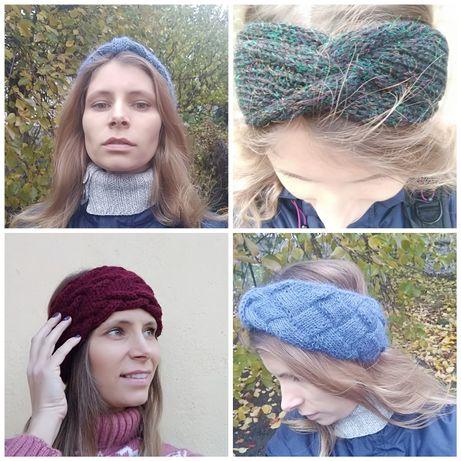 Вязанные, осенние повязки, чорная чалма-повязка, handmade