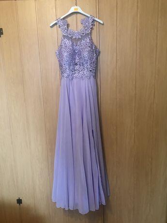 Lawendowa dluga suknia S 34