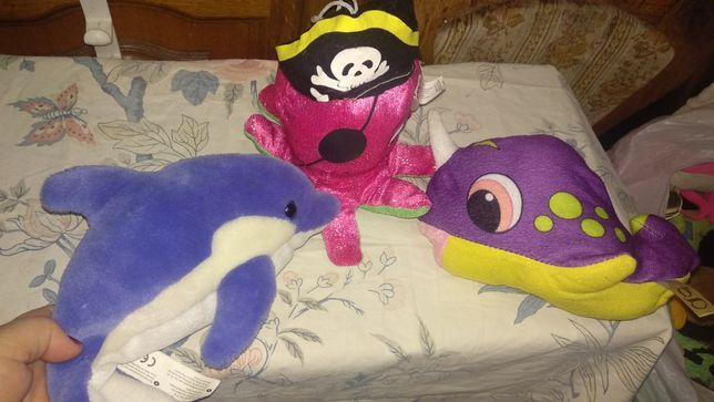 игрушка мягкая море кит единорог дельфин медуза пиратчереп набор 3шт