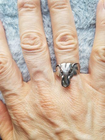 Pierścionek słoń srebro