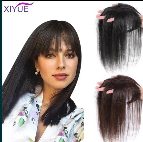 Накладка на макушку из волос накладная челка на залысину