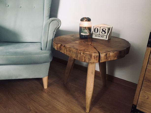 Stół stolik z plastra drewna dąb 70cm drewniany kawowy