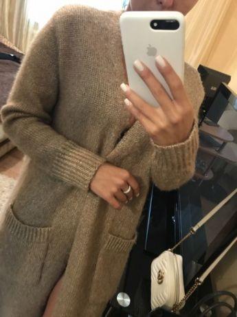 Мега-стильное пальто кардиган. Длинное,вязаное пальто оверсайз