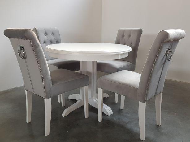 Krzesło krzesła pikowane chesterfield z kołatką z pinezkami glamour