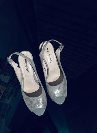 Sandały na słupku skórzane 36, Wodowski, kolor srebrny