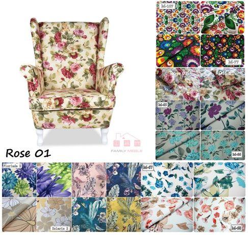 Fotel skandynawski uszak wzorzyste kolory różne tkaniny liście, kwiaty