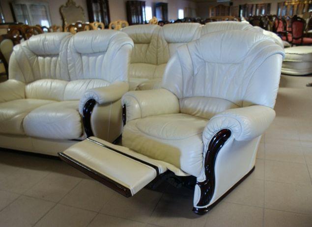 Włoski Komplet Wypoczynkowy Skóra Ecru 2 Sofy + Fotel Relax 321