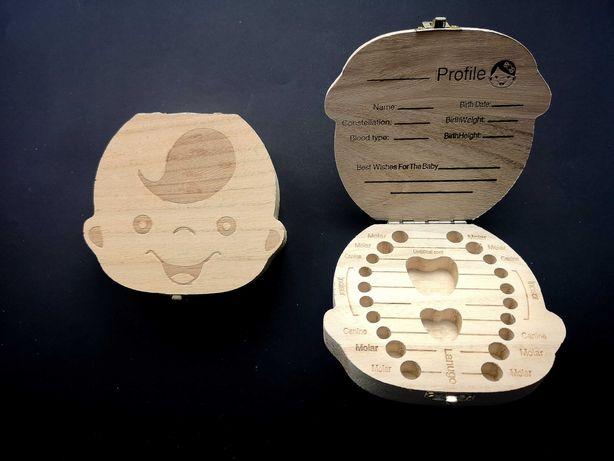 Pudełko drewniane ząbki mleczne zęby mleczaki.Wróżka zębuszka.