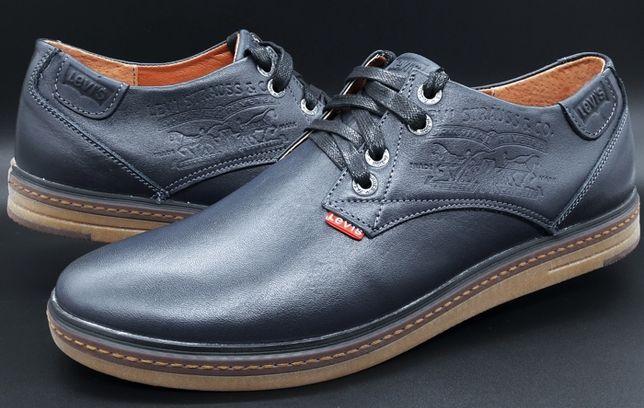 Туфли кожаные стильные Levis / черные, коричневые,синие 40-45р