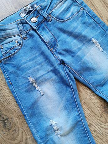 Jeansy z dziurami rozm. 116 przetarcia dziury modne