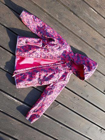 Softshell kurtka wiosenna deszczówka wiatrówka  różowa w kropki 122cm