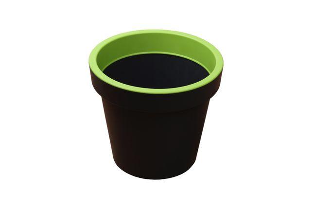 Donica okrągła L zielona plastikowa doniczka szara WYSYŁKA!