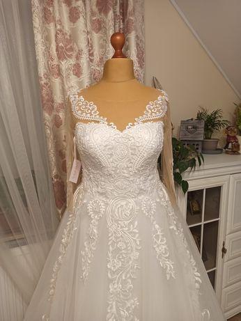 Suknia ślubna biała księżniczka plus size rozmiar 48 50