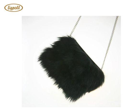 torebka z futerkiem prezent czarna z łańcuszkiem na ramię zamek