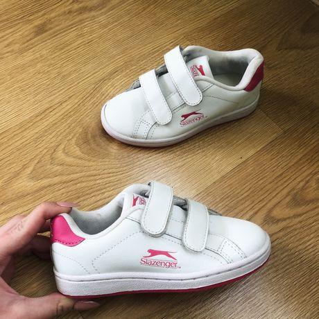 Biało różowe sportowe buty na rzepy Slazenger dziewczęce wygodne bucik