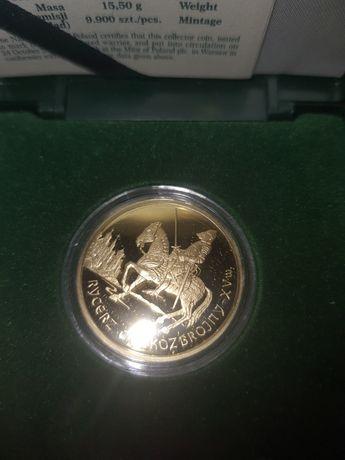 Złotą monetę rycerz ciężkozbrojny 15 wiek nominał 200 zł