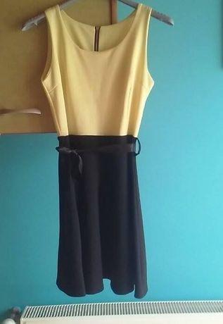 Sukienka dziewczęca, żółto-czarna, rozkloszowana