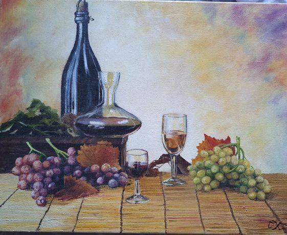 Натюрморт вино и виноград,  50х40, масло