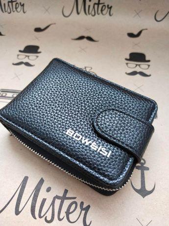 Вместительный мужской кошелёк-визитница BoVis черный