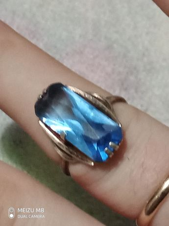 Старое серебрянное кольцо с топазом, проба 875