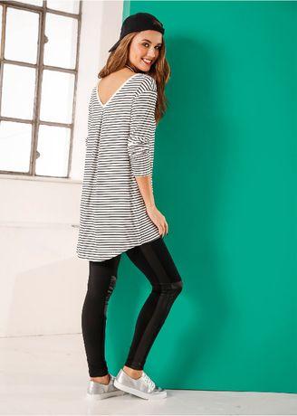 BONPRIX 32/34 Shirt z długim rękawem czarno białe paski XS/S oversize