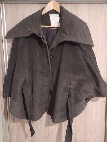 Szary czarny płaszcz kurtka narzuta guziki wiosna jesień M