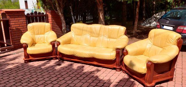 Sofa + 2 fotele ze skóry ekologicznej w stanie idealnym - tanio !