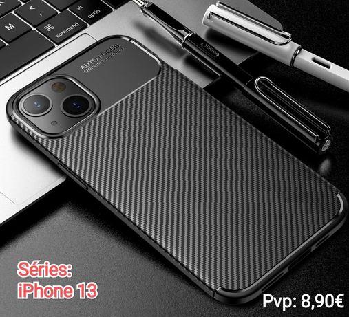 Capa T/ Fibra Carbono iPhone 13 Mini / 13 Pró / 13 / 12 Pró Max -Nova