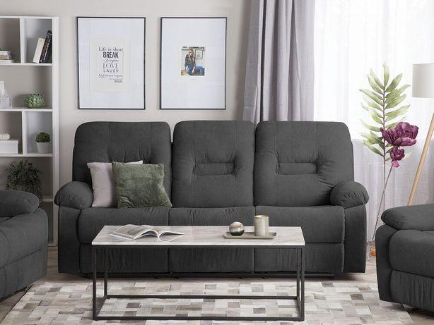 Sofá de 3 lugares reclinável em tecido cinzento escuro BERGEN - Beliani