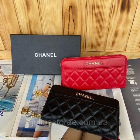 Женский кожаный кошелек клатч Chanel Шанель жіночий шкіряний гаманець