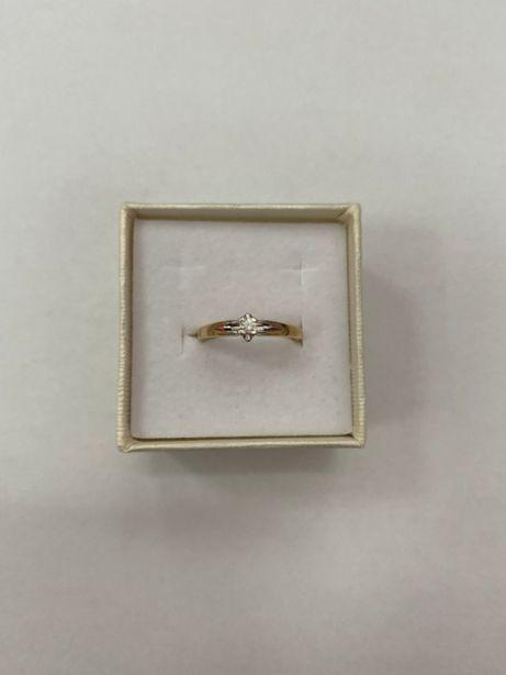 złoty pierścionek z diamentem 2,24g p585