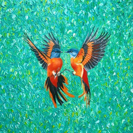 Картина маслом птицы