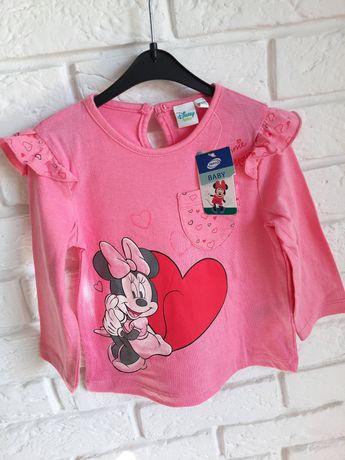 NOWA różowa bluzka Disney Minnie r. 86/92