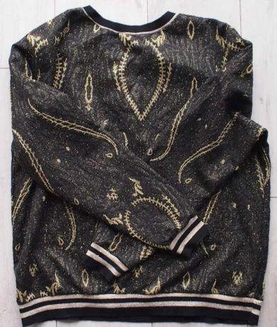 Bluza sweter H&M XL XXL tłoczona czarna złota błyszcząca owad oversize