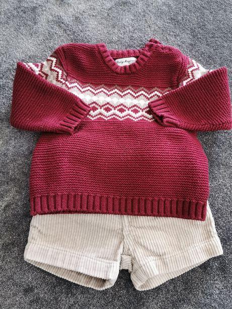 Zestaw sweterek+spodenki sztruksowe Mayoral r. 68