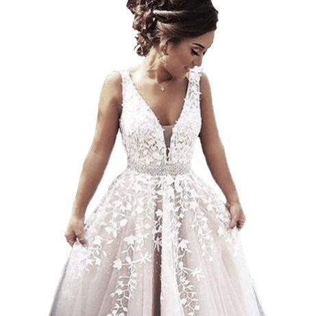 suknia ślubna koronka dekolt V plecy V 36, 38 M, 40, 42 XL, 44, 46 XXL