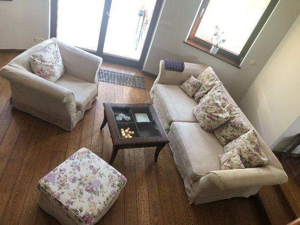 zestaw wypoczynkowy: sofa, fotel, pufa