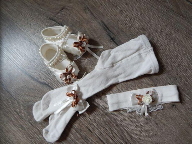 Крестильный комплект платье+пинетки, колготки, повязка