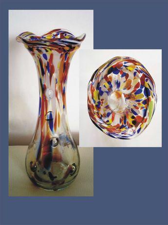Wysoki wazon kolorowe szkło lata 50 XX wieku