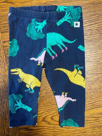 Lindex spodnie leginsy printy scandi 62 dino i dinozaury