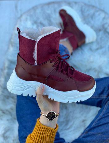 Очень теплые не тяжелые зимние ботинки красивого винного цвета