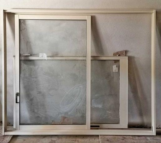 Aro e janelas de correr alumínio lacado cor beje