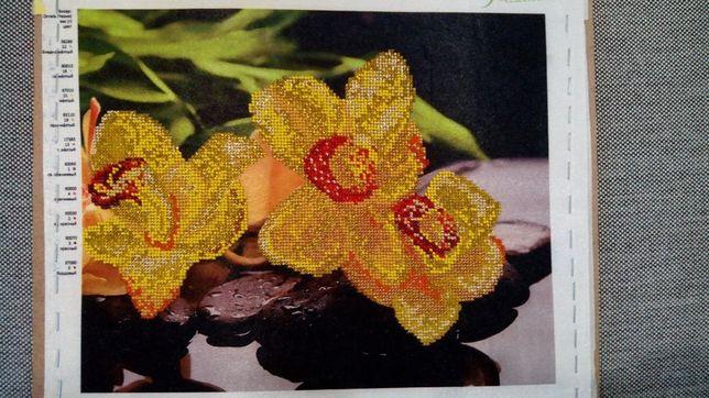 """Картина вышитая бисером"""" желтые орхидеи"""""""
