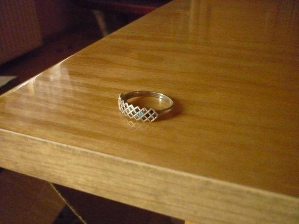Pierścionek srebrny obrączka 925 kolorowe cyrkonie r.18